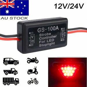 12V 24V AU LED Strobe Controller Brake Tail Light Lamp Flash Flasher Module Box