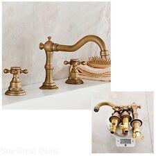 Bathroom Sink Widespread Faucet Antique Look Brass Holes Double Handles Fixture