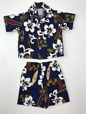 Polynesian Outfit Set Blue Hibiscus Tropical Cruise Vacation Toddler Boy 1-2