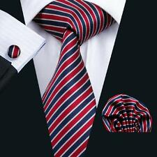 Classic Men's Red Stripes 100% Jacquard Woven Silk Party Neckties Set SN-512
