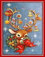 30 Custom Vintage Reindeer Art Personalized Address Labels