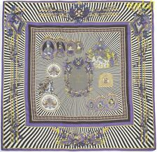 """VERSACE purple striped REGAL RADIANT CAMEO delicate 50"""" Pashmina scarf NWT Auth"""
