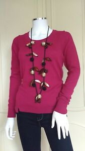 WHITE STUFF Rosy Rosey Jumper Top Sweater Pink Wool Cotton RRP £49.95 UK 10-12