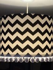 Lampshade Black White Zig Zag Chevron Handmade with Pom Poms Modern Monochrome