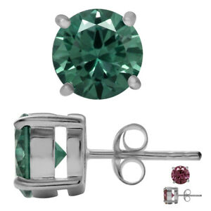 8MM Round Simulated Color Change Alexandrite 925 Sterling Silver Stud Earrings