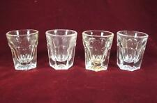 4 Hexagonal Base Clear Glass Shot Glasses All Slightly Tinted Colors (O)