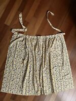 Vintage Full Length Half Apron Mustard Brown Black White Stars Geometric Print L