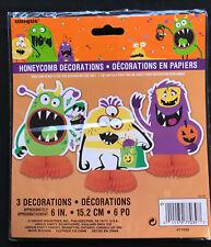 3 X Mini Fiesta Halloween tonto monstruos Mesa Decoraciones PANAL Eje Central