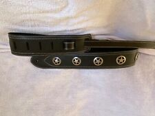 BLACK LEATHER WITH ANTIQUE SILVER TEXAS RANGER CONCHO GUITAR STRAP