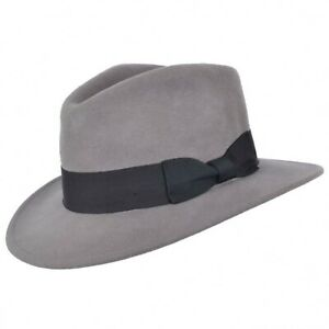Indiana Jones Fedora Hat 100% Wool Felt Trilby Hat With Wide Band