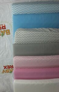 2 x Crib Fitted Sheets to fit Chicco Next2me Crib - 100% Cotton