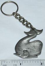 """Whales Rawcliffe Pewter """"I Love Whales"""" Vintage Keychain"""