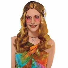 Adult Ladies 60s 70s Hippy Groovy Round Metal Glasses Party Festival Accessory