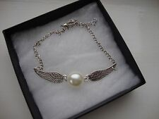 HARRY POTTER SILVER PEARL BEAD DOUBLE WINGED SNITCH CHARM BRACELET ANGEL WINGS