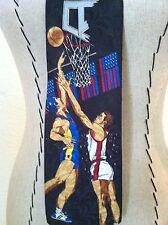 Vintage 80's men rare neck tie black red white blue basketball player novelty