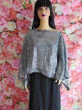 Ladies Evening Party Vintage Silver Sequin Top Size 14/16  (TC140)