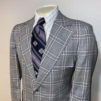 Vtg 60s 70s Blazer Jacket MERIT Leisure Suit coat Plaid POLYESTER Disco MENS 42