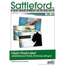 Sattleford 4 Vinyl-Klebefolien für Inkjet-Drucker, wetterfest, DIN A4,  weiß