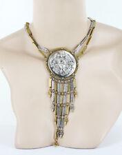 """VTG Goldette Huge Nouveau Gold Silver Maiden Relief Fringe Pendant Necklace 17"""""""