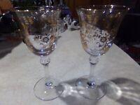 2 Tiffin Glass Gold Etched & Trimmed Rambling Rose Wine Goblets 4 oz