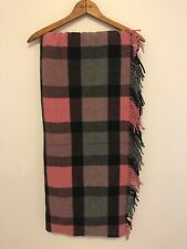 Fiori Di Firenze Wool Throw Made Italy Plaid Pink Black Natural Lap Blanket NWT