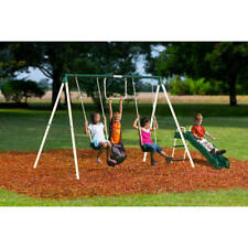 Metal Swing Set Kid Backyard Fun Playset Outdoor Play Physical Activity Exercise