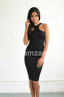 New Womens Ladies Glam Cut Out Celeb Pencil Midi Bodycon Print towie Party Dress