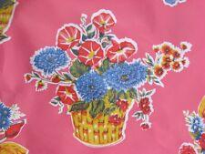 PINK FLOWER BASKET RETRO KITCHEN COUNTRY OILCLOTH VINYL SEW CRAFT DEC FABRIC BTY