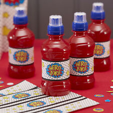 """Hero Juice"" Bottle Labels Stickers Comic Superhero Birthday Party - pack of 12"