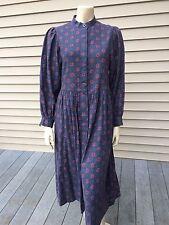 Laura Ashley Vintage Modest High Neck Cotton Dress Dark Blue 38 10 12