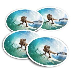 4x Round Stickers 10 cm - Surfing Dinosaur T-Rex  #13154