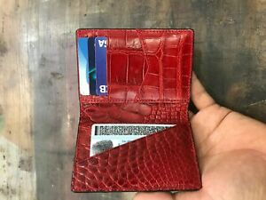 Crocodile Leather Credit Card Holder DOUBLE SIDE Genuine Alligator BLACK/RED