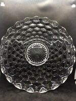 "VTG Fostoria Cubist American Clear Glass Serving Plate Large Round Platter 14"""