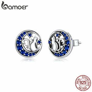BAMOER Women Stud Earring Moon Kitty S925 Sterling Silver Blue Pav¨¦ CZ Jewelry