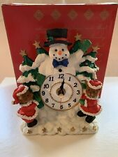Things Remembered Snowman Christmas Decoration Battery Powered Mantle Clock NIB