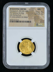 NGC MS 4/5 - 3/5 (AD 641-668)  Byzantine Constans II Pogonatus AV solidus (20mm,