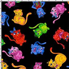 Loralie Designs Fabric - Cool Cats Rainbow Pet Toss Black - Cotton YARD