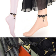 Gothic Anklet Chain Black Lace Woven Flowers Water Drop Pendant Anklet Jewelry Y
