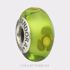 Authentic Pandora Sterling Silver Murano Lime Flowers For You Bead 790648