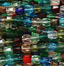 50pcs Czech Faceted Barrel Mix Pink Green Red Fire Polish Glass Beads 6x6.5mm