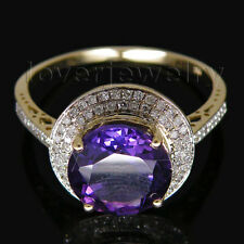 Jewelry Sets Round 10mm 14Kt Yellow Gold Diamond Purple Amethyst Ring For Women