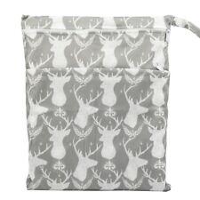 Wet Dry Bag Baby Cloth Diaper Nappy Bag Reusable 2 Zippers Pocket Grey Deer