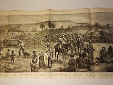 1879 LARGE ZULU WAR ENGRAVING 15 X 45 IN SOUTH AFRICA BOER BATTLE CHELMSFORD