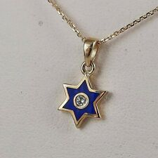 Tiny star of David pendant necklace in 14k yellow gold, diamond and blue enamel