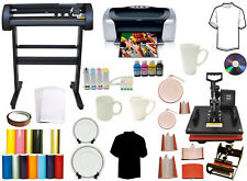 8 in1 Combo Heat Press,500g Laser Dot Vinyl Cutter Plotter,Printer,CISS,Mug Ink