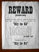 """OLD WEST OUTLAW DAVE RUDABAUGH WANTED MURDER REWARD REPRINT POSTER 11x14/"""" 779"""