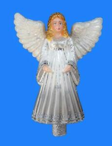 XL SILVER ANGEL EUROPEAN BLOWN GLASS TREE TOPPER CHRISTMAS ORNAMENT EXCLUSIVE