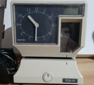 Amano TCX-11  Time Clock Working  Includes Power Supply Good Condition