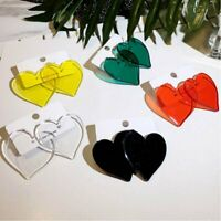 Fashion Geometric Acrylic Transparent Red Heart Stud Earrings Charm Women Party