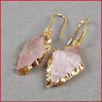 Gold Boho Natural Rough Raw Rose Quartz Earrings Druzy Geode Arrowhead pink
